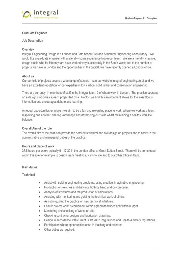 Graduate Engineer Job Description Graduate Engineer Job