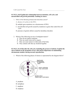 Mitosis and Meiosis Pre-Test