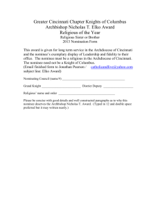 Religious Nomination form - Greater Cincinnati Chapter, Knights of