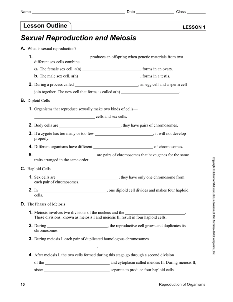 Sexual reproduction and meiosis section 2