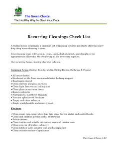 Recurring Cleanings Clean Check List