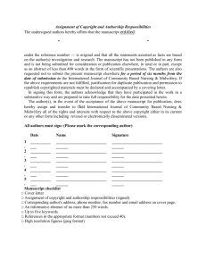 Author Assignment Form - International Journal of Community