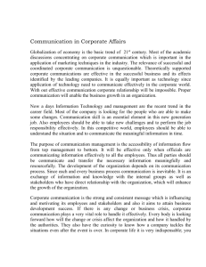 Communication In Corporate Affairs