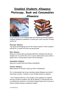 Disabled Students Allowance Photocopy, Book and Consumables