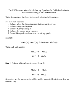 the half  reaction method for balancing equations for oxidation
