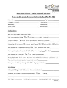 Memorial Hermann Kidney Medical History Form PEDIATRIC