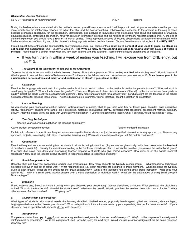 Observation Journal-SE370/371