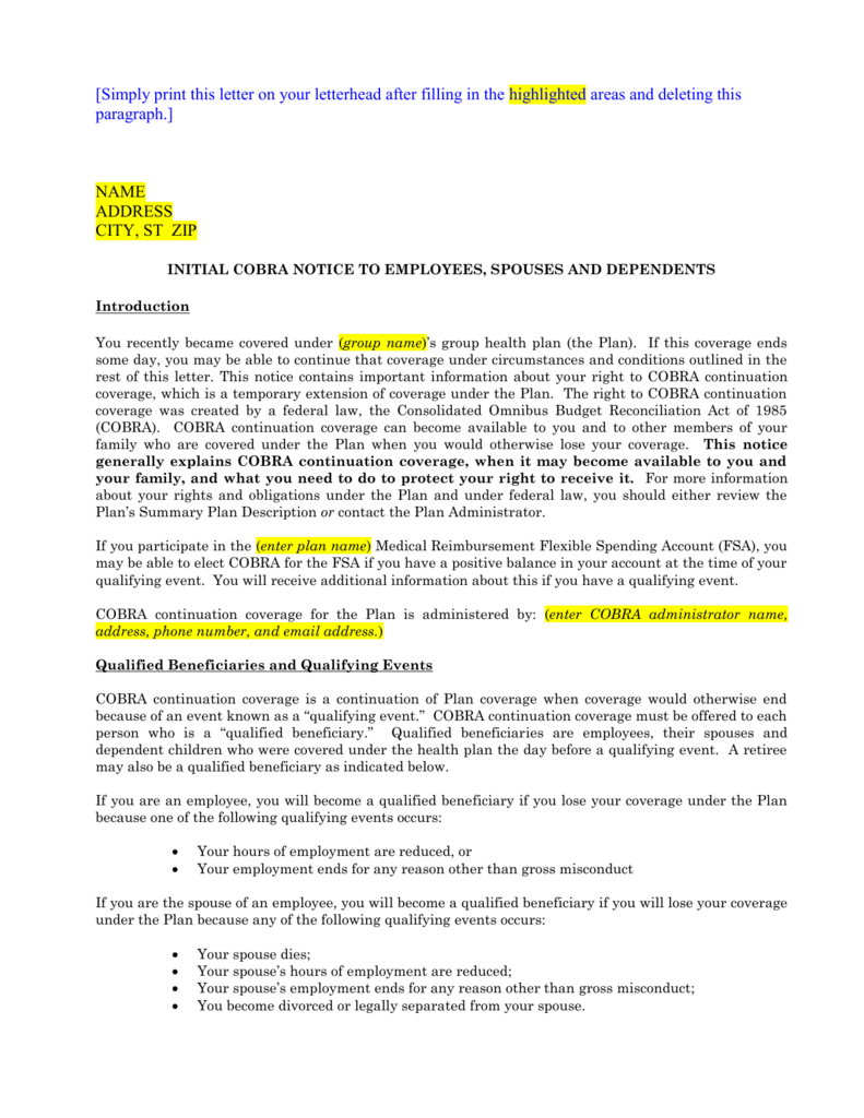COBRA Initial Notice Template (BSI Does Not Administer)