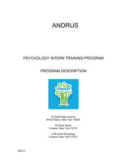PSYCHOLOGY INTERN TRAINING PROGRAM