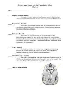 Ancient Egypt Oral Presentation Rubric