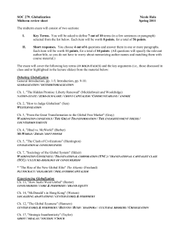 SOC 279 Midterm Review Sheet – Spring 2011