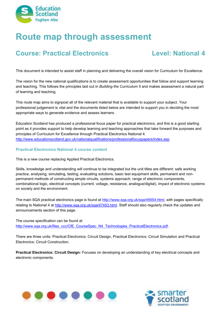 Practical Electronics National 4 Route Map