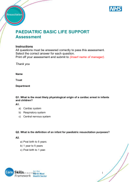 Paediatric Basic Life Support Assessment