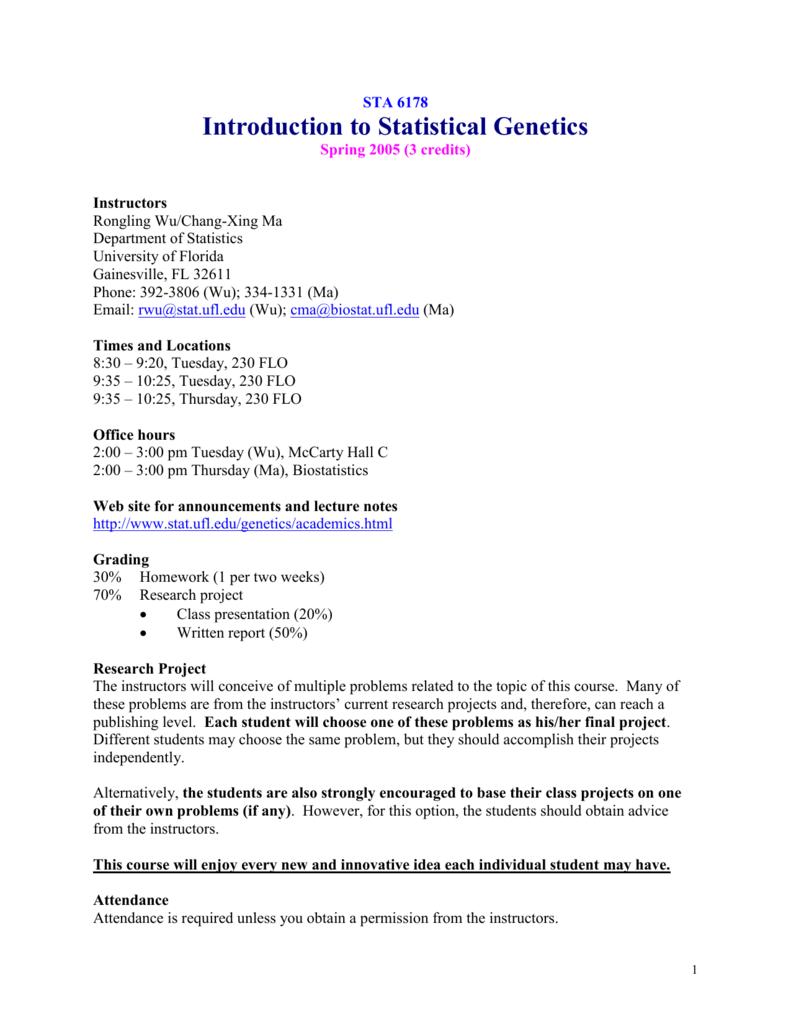 STA 6178 Genetic Data Analysis