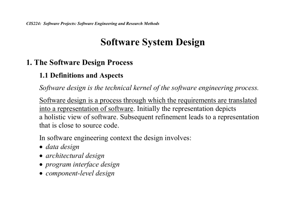 Software System Design