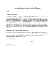 Sample Letter for Carrying Self-Injectable Epinephrine Aboard
