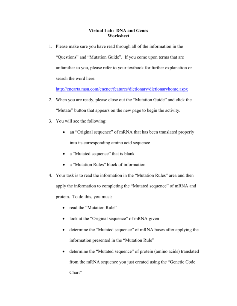 worksheet Dna And Genes Worksheet Answers virtual lab dna and genes