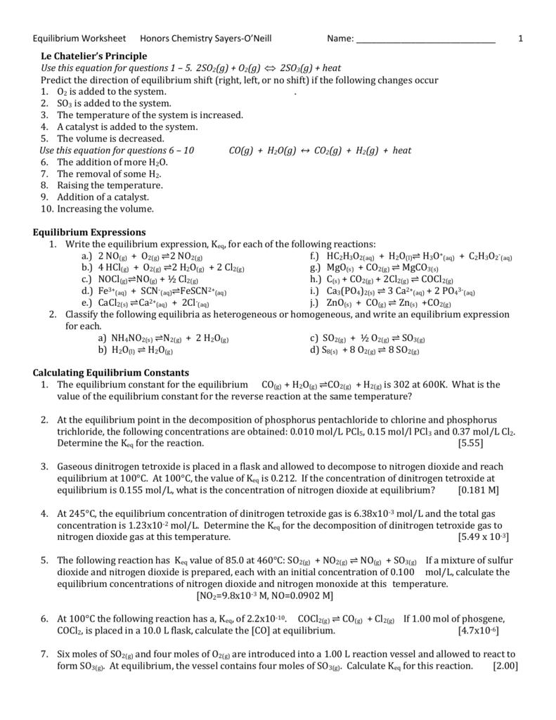 Equilibrium Worksheet SayersONeill – Equilibrium Worksheet