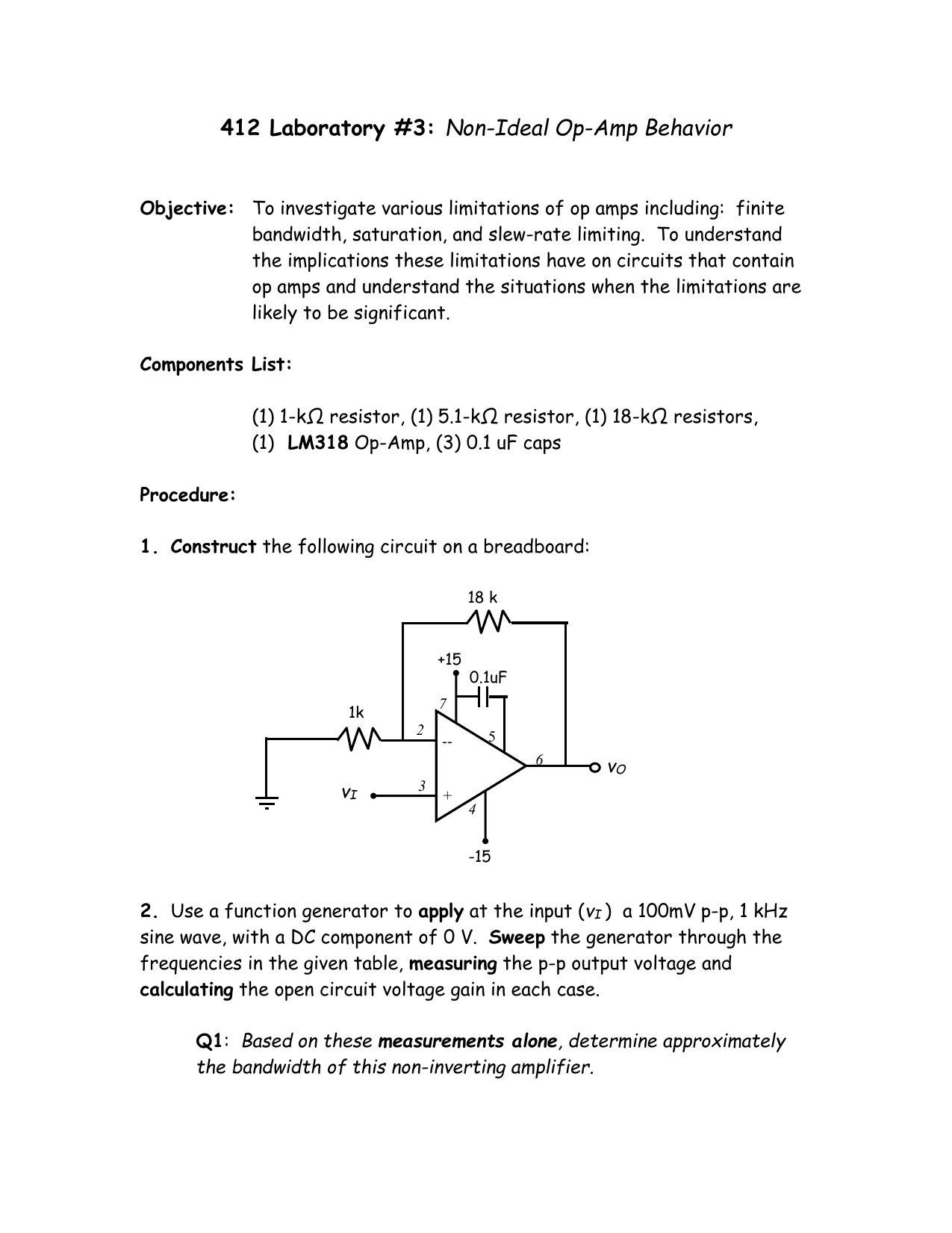412 Laboratory 3 Revised High Frequency Sine Wave Generator Signalprocessing Circuit
