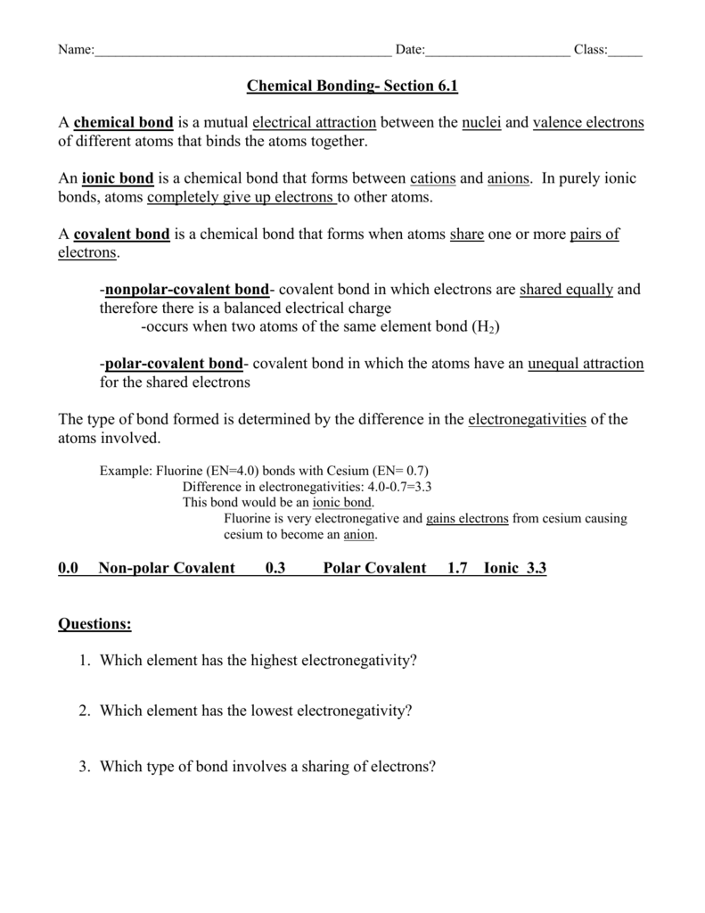 Chemical Bonding Section 61 – Types of Chemical Bonds Worksheet Answers