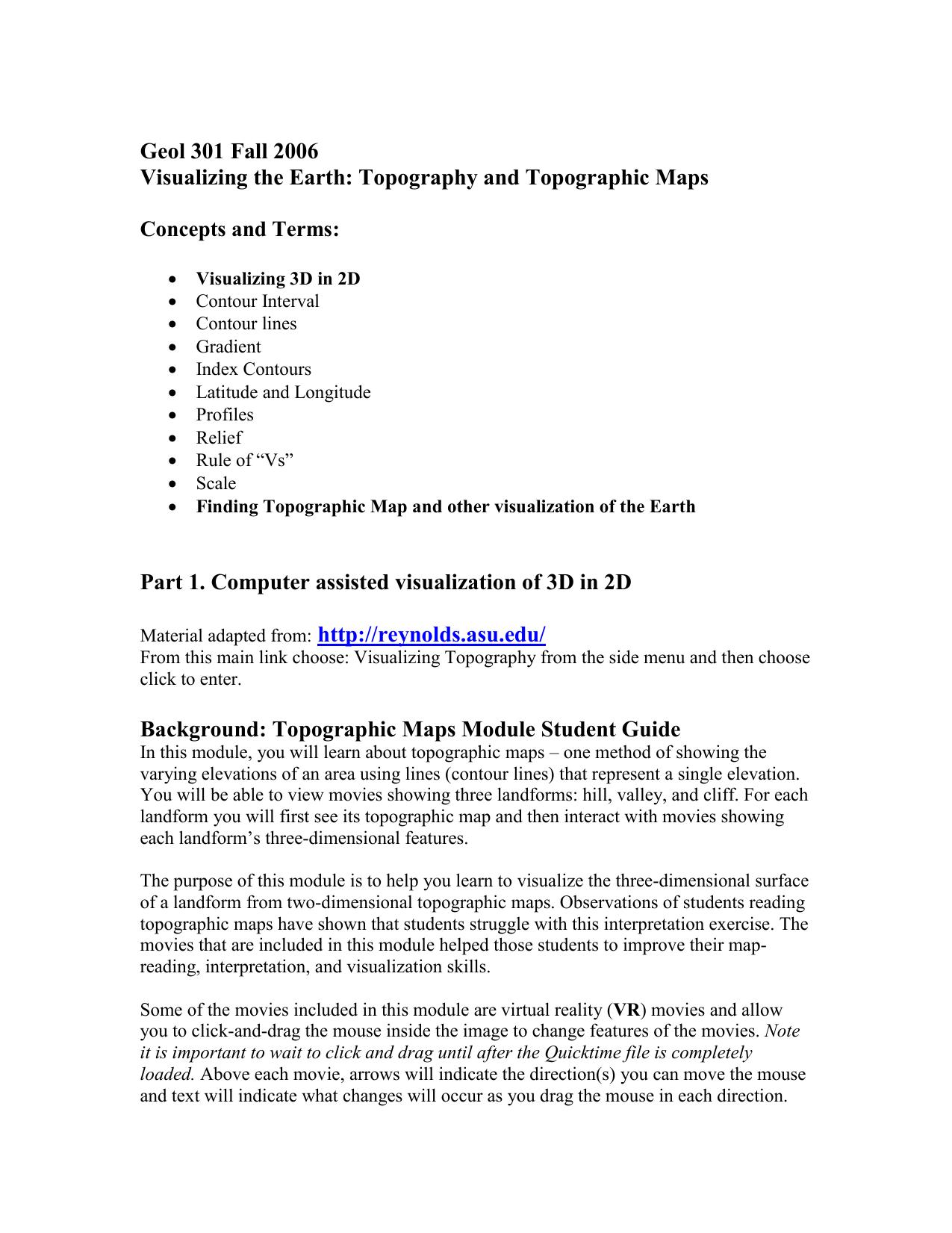 Topographic Maps Module Student Guide