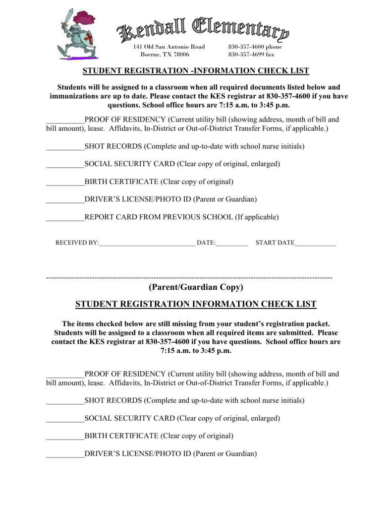 Student Registration Information Check List