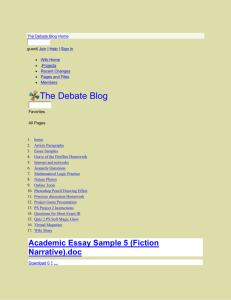 The Debate Blog - Academic Essay Sample 5 (Fiction Narrative)