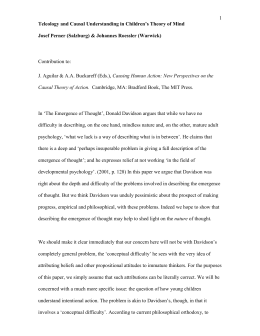 `Teleology and causal understanding in children`s theory of mind`