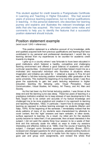 Position statement example - University of East London
