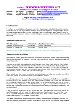 August 2013 Newsletter - British Beekeepers Association