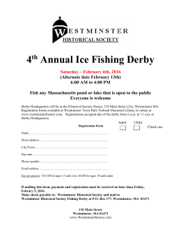 Derby Registration - Westminster Historical Society