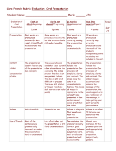 Core French Rubric Evaluation: Oral Presentation