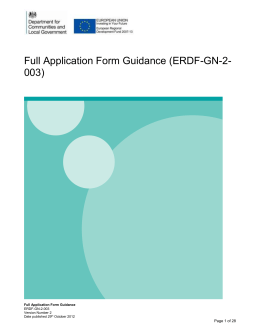 Full application form guidance