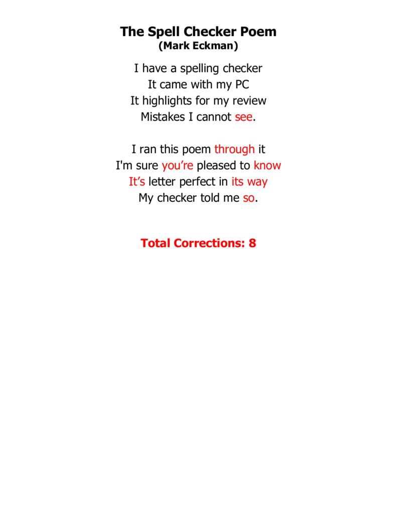 spell checker poems corrected