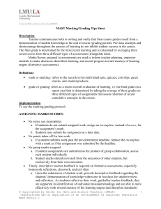 Marking - Grading Tips Sheet - Alliance Richard Merkin Middle