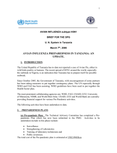 1 AVIAN INFLUENZA subtype H5N1 BRIEF FOR THE DPG U. N.