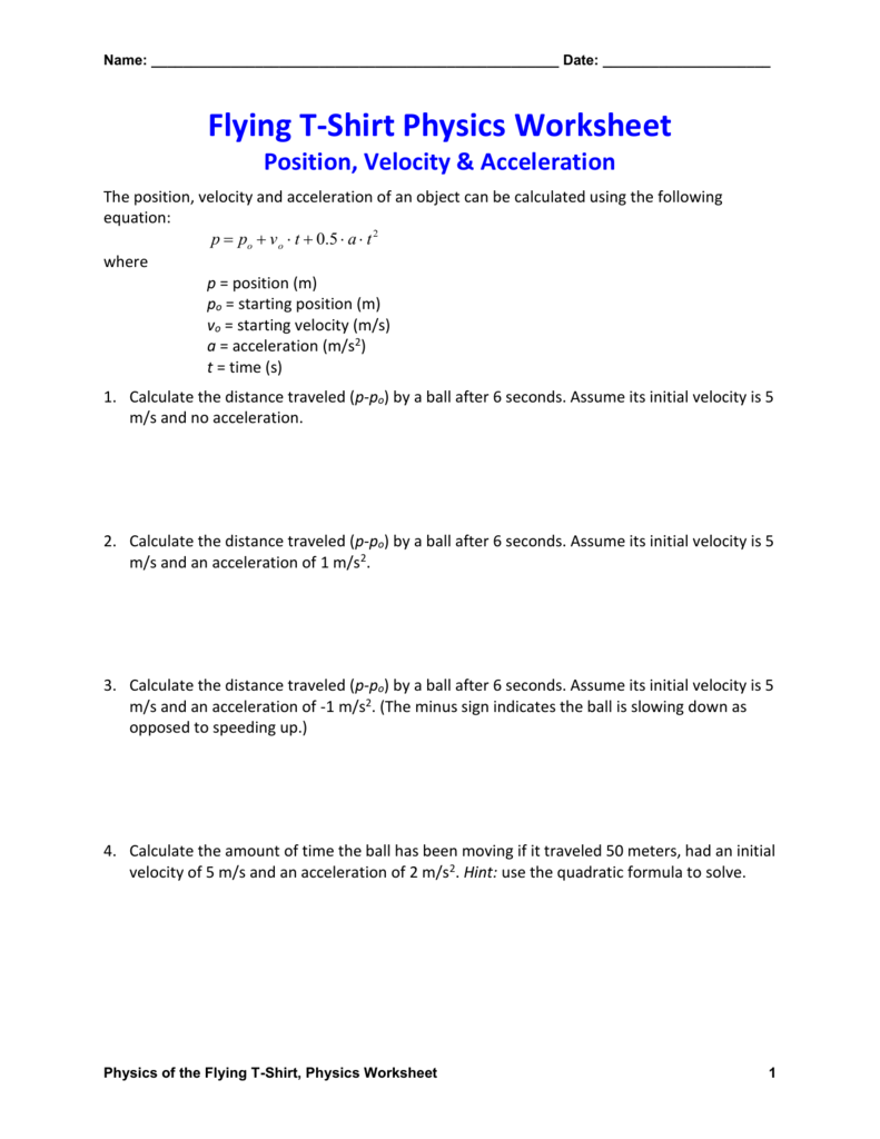 worksheet Physics Worksheet position velocity acceleration physics worksheet