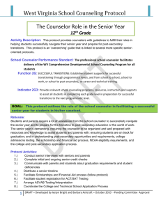 Counselor`s Role in the Senior Year