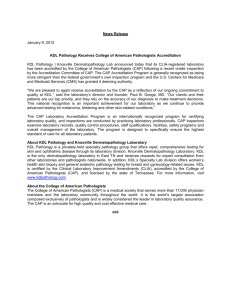 News Release January 9, 2012 KDL Pathology Receives College of