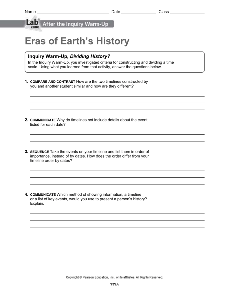 Geologic Time Activity Worksheet Answers - Worksheet List