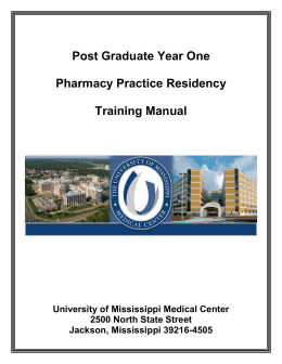 Post Graduate Year One - University of Mississippi Medical Center