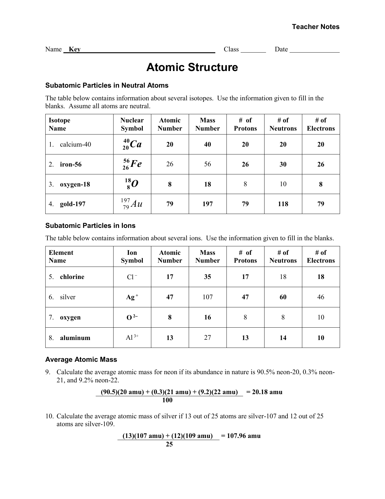 Worksheet - Atomic Structure - Teacher