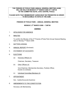 the friends of poole park annual general meeting (agm)
