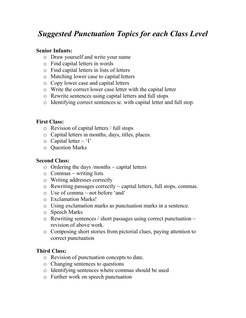 Punctuation Topics for each Class Level