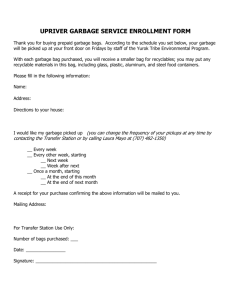 UPRIVER GARBAGE SERVICE ENROLLMENT FORM