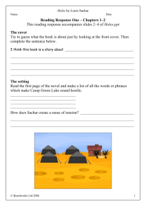 Holes Worksheets
