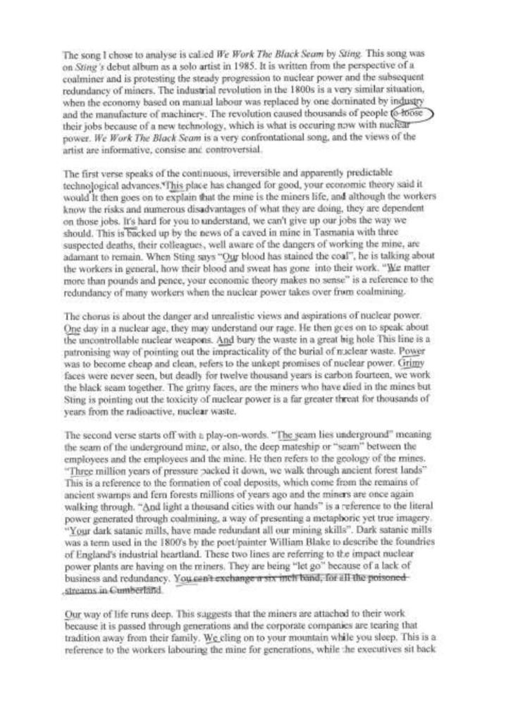 Written analysis of Sting`s