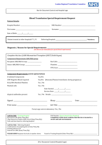Blood transfusion special requirement request form