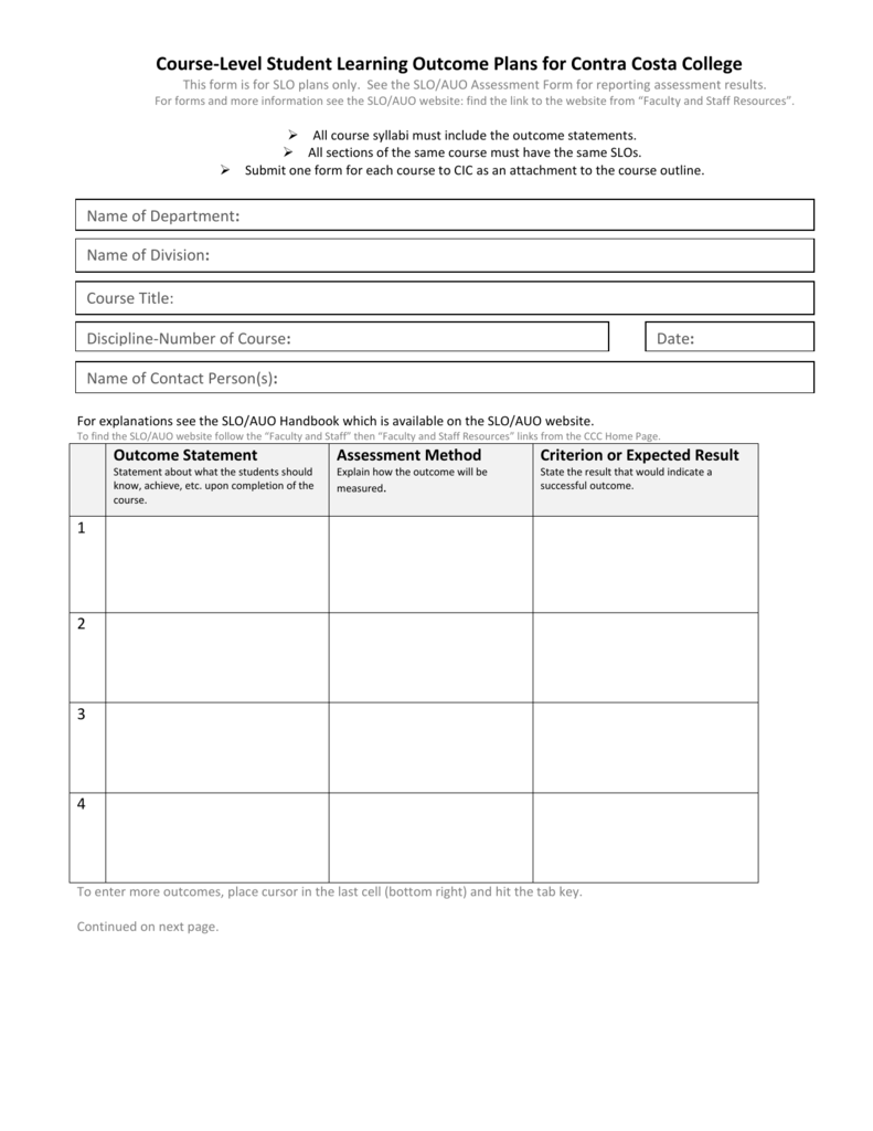 Blank Ms Word Form Course Level Slo Plans
