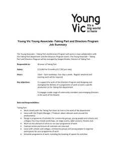 Young Vic Young Associate -Taking Part and Directors Program Job